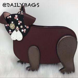 KATE SPADE DOG CROSSBODY PUP FLOWER BROWN.